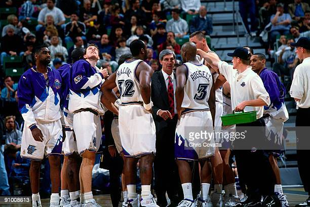 Head coach Jerry Sloan of the Utah Jazz speaks during a timeout in a game at the Delta Center circa 1997 in Salt Lake City Utah NOTE TO USER User...