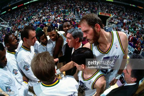 Head coach Jerry Sloan of the Utah Jazz speaks to his team prior to a game circa 1993 at the Delta Center in Salt Lake City Utah NOTE TO USER User...