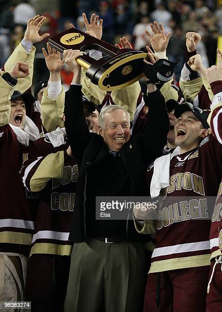 Head coach Jerry York of the Boston College Eagles celebrates after winning the championship game of the 2010 NCAA Frozen Four on April 10, 2010 at...