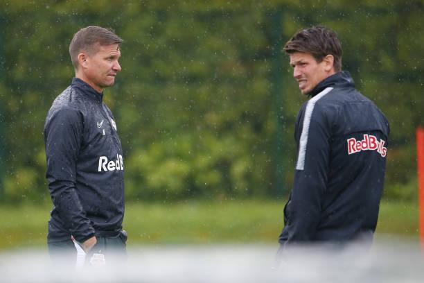 Head coach Jesse Marsch of Salzburg and assistant coach Franz Schiemer of Salzburg during the first RB Salzburg team trainings session at...