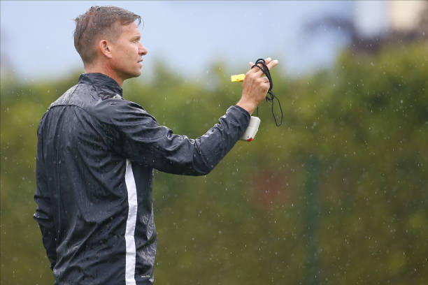 Head coach Jesse Marsch of Salzburg counts the players during the first RB Salzburg team trainings session at Trainingszentrum Taxham on May 15 2020...
