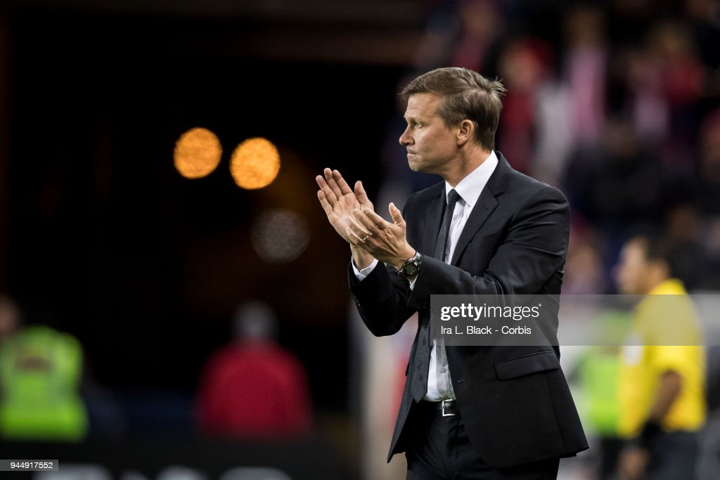 Head Coach Jesse Marsch of the New York Red Bulls claps for his team during the CONCACAF Champions League - Semifinals - Leg 2 match between CD Guadalajara and New York Red Bulls at Red Bull Arena on April 10, 2018 in Harrison, NJ. The match ended in a tie but CD Guadalajara advances on the aggregate of 1 to 0.
