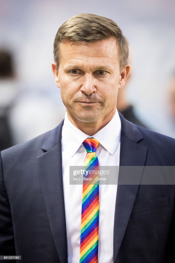 Head Coach Jesse Marsch of the New York Red Bulls wears a rainbow tie to support Pride Night during MLS match between New York Red Bulls and Orlando City SC at the Red Bull Arena on August 12, 2017 in Harrison, NJ. The New York Red Bulls won the match with a score of 3 to 1.
