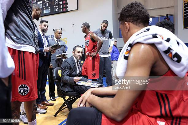 Head coach Jesse Mermuys of the Raptors 905 directs his team against the Rio Grande Valley Vipers during Day Four of the 2016 NBA DLeague Showcase on...