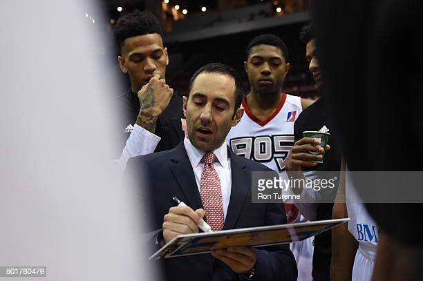 Head Coach Jesse Mermuys of the Raptors 905 draws up a play during a game against the Grand Rapids Drive at the Hershey Centre on December 16 2015 in...