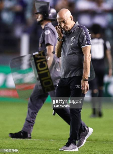 Head coach Jesualdo Ferreira of Santos gestures during a match between Santos and Red Bull Bragantino as part of Paulista State League at Vila...