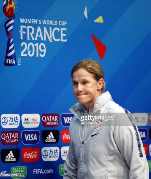 Head coach Jill Ellis arrives for a USA press conference during the 2019 FIFA Women's World Cup France at Stade Oceane on June 19, 2019 in Le Havre,...
