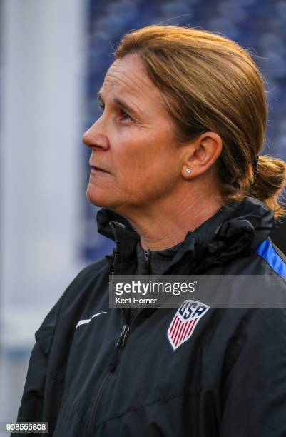 Head coach Jill Ellis of the US women's national team looks on during pregame ceremonies against the Danish women's national team at SDCCU Stadium on...