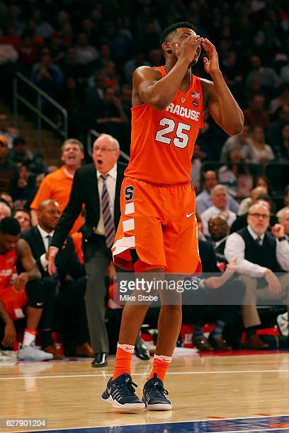Head coach Jim Boeheim and Tyus Battle of the Syracuse Orange react against the Connecticut Huskies during the Tire Pros Classic at Madison Square...