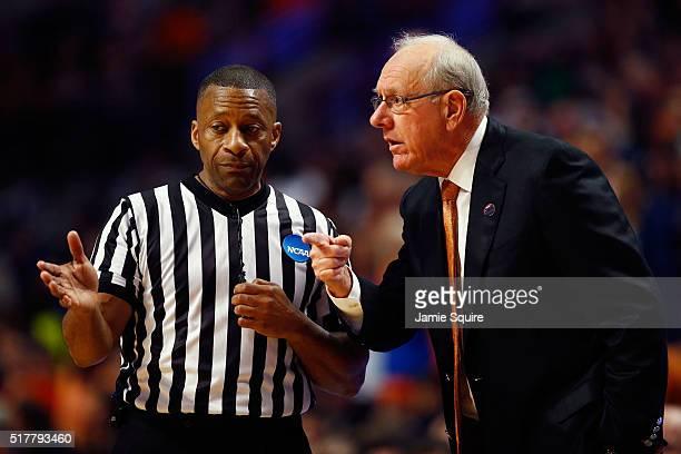 Head coach Jim Boeheim of the Syracuse Orange argues a call in the first half against the Virginia Cavaliers during the 2016 NCAA Men's Basketball...