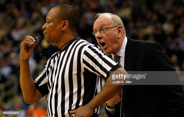 Head coach Jim Boeheim of the Syracuse Orange argues a call with the referee against the Pittsburgh Panthers at Petersen Events Center on February 12...