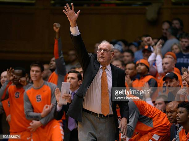 Head coach Jim Boeheim of the Syracuse Orange directs his team during their game against the Duke Blue Devils at Cameron Indoor Stadium on January 18...