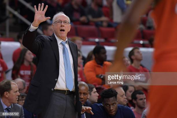 Head coach Jim Boeheim of the Syracuse Orange directs his team against the North Carolina State Wolfpack at PNC Arena on February 1 2017 in Raleigh...