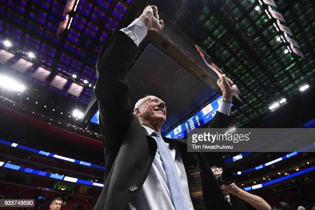 Head coach Jim Boeheim of the Syracuse Orange greats the crowd after beating the Michigan State Spartans in the second round of the 2018 NCAA Photos...