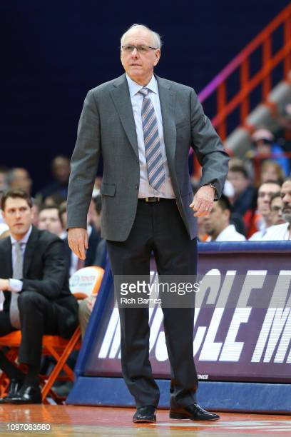Head coach Jim Boeheim of the Syracuse Orange looks on against the Pittsburgh Panthers during the second half at the Carrier Dome on January 19 2019...