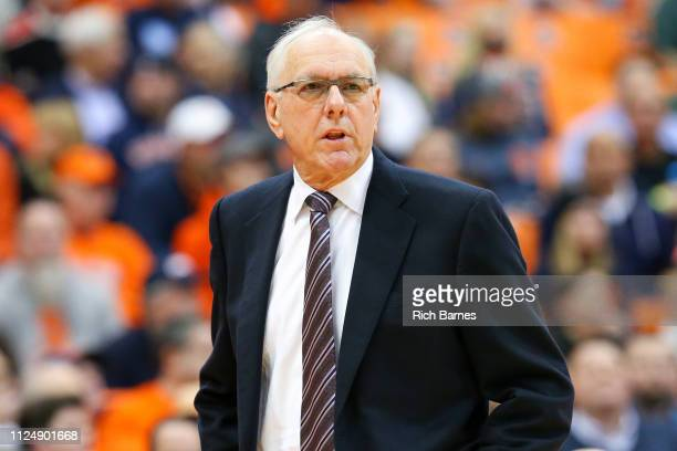 Head coach Jim Boeheim of the Syracuse Orange looks on against the Miami Hurricanes during the first half at the Carrier Dome on January 24 2019 in...