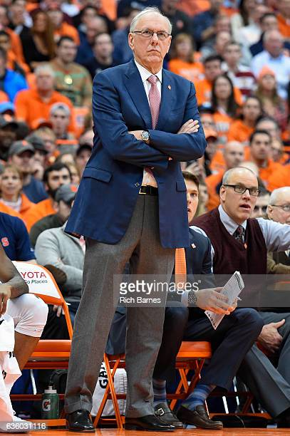 Head coach Jim Boeheim of the Syracuse Orange looks on against the Georgetown Hoyas during the first half at the Carrier Dome on December 17 2016 in...