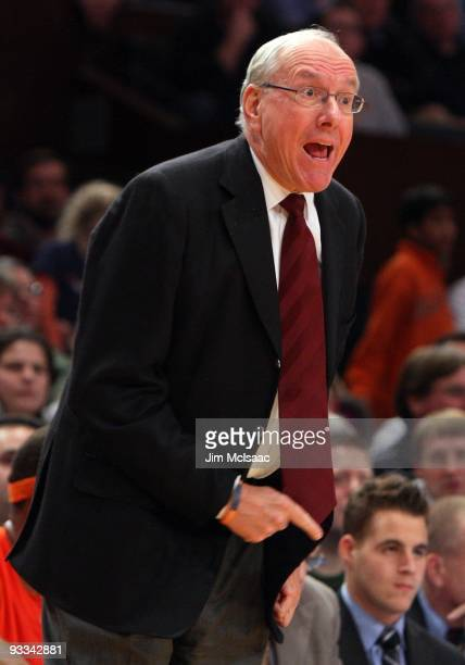 Head coach Jim Boeheim of the Syracuse Orange looks on against the North Carolina Tar Heels during the championship game of the 2K Sports Classic on...