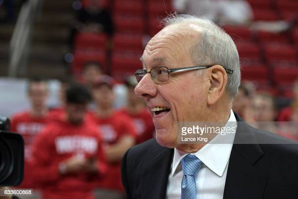 Head coach Jim Boeheim of the Syracuse Orange looks on during their game against the North Carolina State Wolfpack at PNC Arena on February 1 2017 in...
