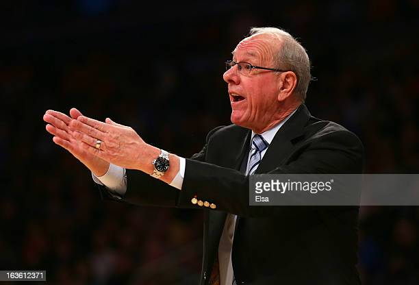 Head coach Jim Boeheim of the Syracuse Orange looks on from the bench during the first half against the Seton Hall Pirates during the second round of...