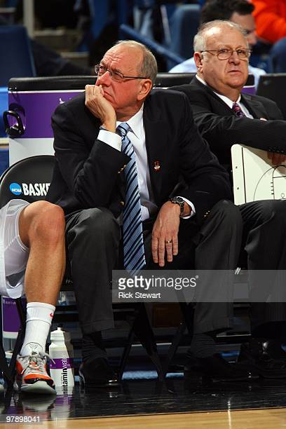 Head coach Jim Boeheim of the Syracuse Orange looks on from the bench during the first round of the 2010 NCAA men's basketball tournament at HSBC...