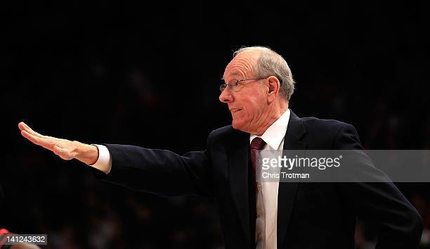 Head coach Jim Boeheim of the Syracuse Orange looks on from the sideline against the Cincinnati Bearcats during the semifinals of the Big East men's...