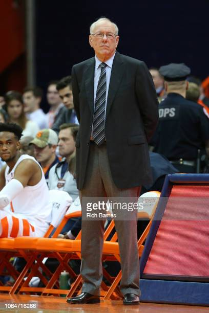 Head coach Jim Boeheim of the Syracuse Orange looks on prior to the game against the Eastern Washington Eagles at the Carrier Dome on November 06...