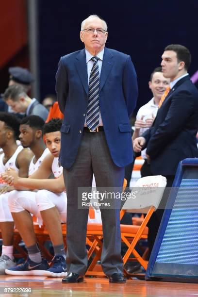 Head coach Jim Boeheim of the Syracuse Orange looks on prior to the game against the Toledo Rockets at the Carrier Dome on November 22 2017 in...