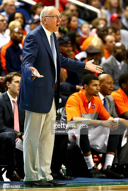 Head coach Jim Boeheim of the Syracuse Orange reacts against the North Carolina State Wolfpack during the quarterfinals of the 2014 Men's ACC...
