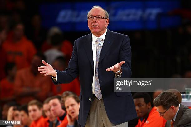 Head coach Jim Boeheim of the Syracuse Orange reacts as he coaches against the Pittsburgh Panthers during the quaterfinals of the Big East Men's...