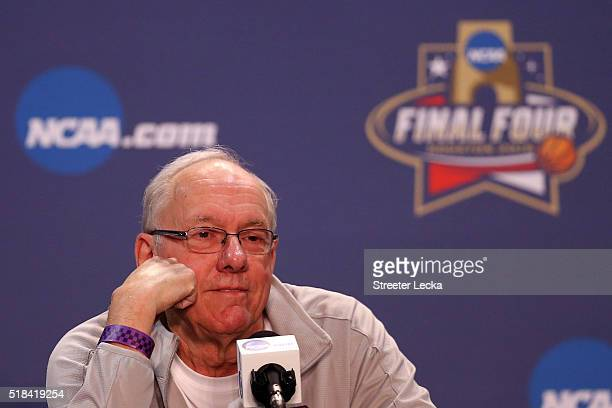 Head coach Jim Boeheim of the Syracuse Orange reacts during a press conference prior to the 2016 NCAA Men's Final Four at NRG Stadium on March 31...