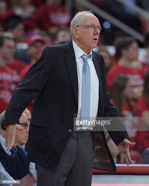 Head coach Jim Boeheim of the Syracuse Orange reacts during their game against the North Carolina State Wolfpack at PNC Arena on February 1 2017 in...
