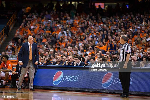 head coach Jim Boeheim of the Syracuse Orange reacts following a call in the first half on January 11 2014 at The Carrier Dome in Syracuse New York