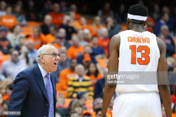 Head coach Jim Boeheim of the Syracuse Orange reacts in the direction of Paschal Chukwu against the Cornell Big Red during the first half at the...