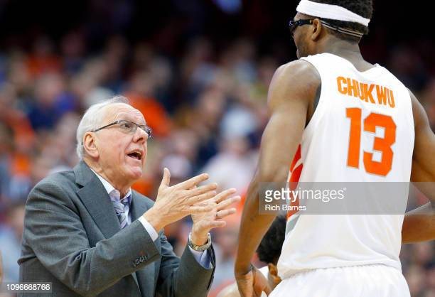 Head coach Jim Boeheim of the Syracuse Orange reacts in the direction of Paschal Chukwu against the Boston College Eagles during the second half at...