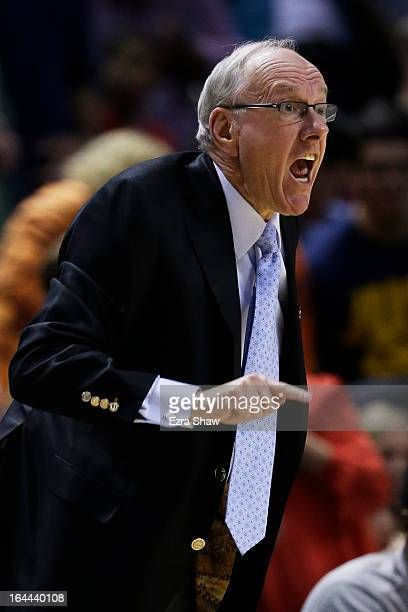 head coach Jim Boeheim of the Syracuse Orange reacts in the first half against the California Golden Bears during the third round of the 2013 NCAA...