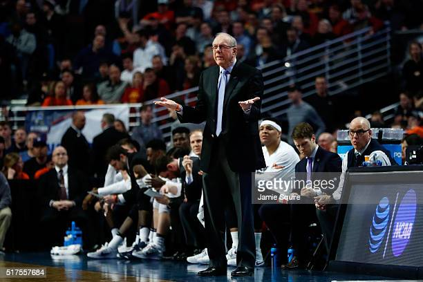 Head coach Jim Boeheim of the Syracuse Orange reacts in the first half against the Gonzaga Bulldogs during the 2016 NCAA Men's Basketball Tournament...
