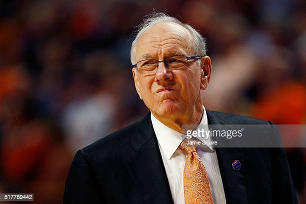 Head coach Jim Boeheim of the Syracuse Orange reacts in the first half against the Virginia Cavaliers during the 2016 NCAA Men's Basketball...