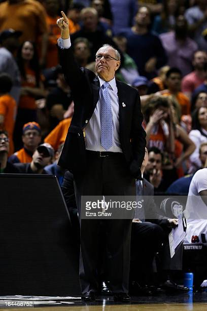 Head coach Jim Boeheim of the Syracuse Orange reacts in the second half against the California Golden Bears during the third round of the 2013 NCAA...
