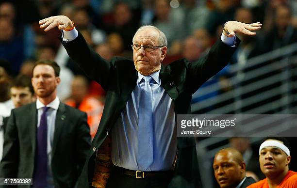 Head coach Jim Boeheim of the Syracuse Orange reacts in the second half against the Gonzaga Bulldogs during the 2016 NCAA Men's Basketball Tournament...