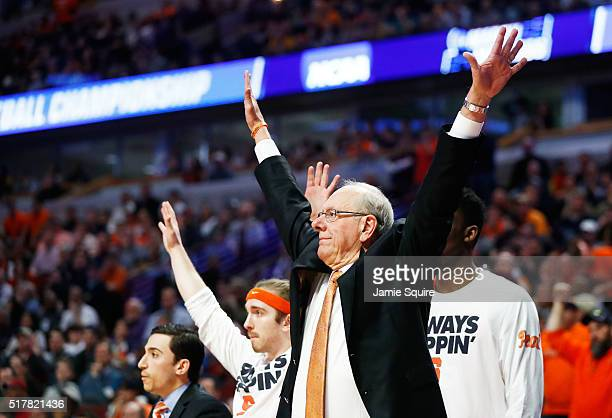 Head coach Jim Boeheim of the Syracuse Orange reacts in the second half against the Virginia Cavaliers during the 2016 NCAA Men's Basketball...