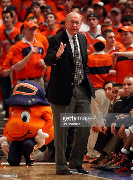 Head Coach Jim Boeheim of the Syracuse Orange reacts on the sidelines during a game against the Seton Hall Pirates during the second round of the Big...