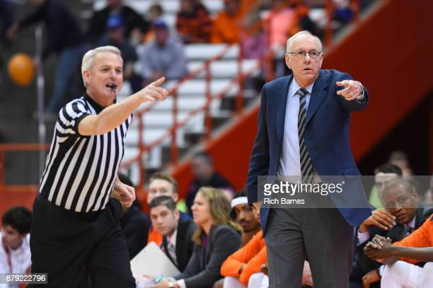 Head coach Jim Boeheim of the Syracuse Orange reacts to a call by official Brian O'Connell against the Toledo Rockets during the first half at the...