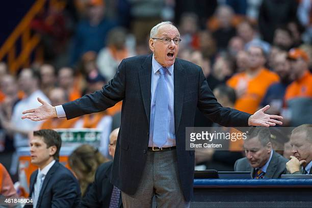 Head coach Jim Boeheim of the Syracuse Orange reacts to a call during the first half against the Boston College Eagles on January 20 2015 at The...