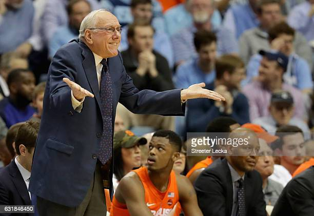 Head coach Jim Boeheim of the Syracuse Orange reacts to a call during their game against the North Carolina Tar Heels at the Dean Smith Center on...