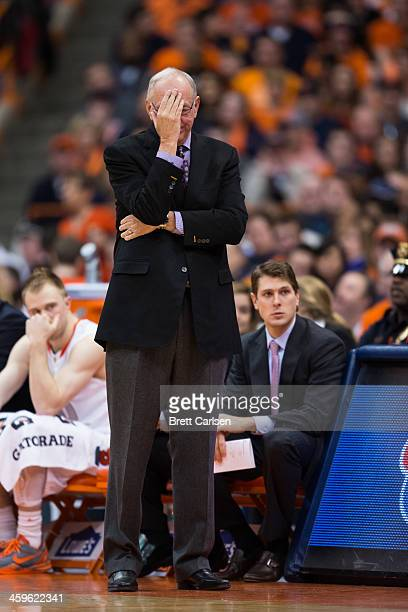 head coach Jim Boeheim of the Syracuse Orange reacts to a call in the second half against Villanova Wildcats on December 28 2013 at The Carrier Dome...