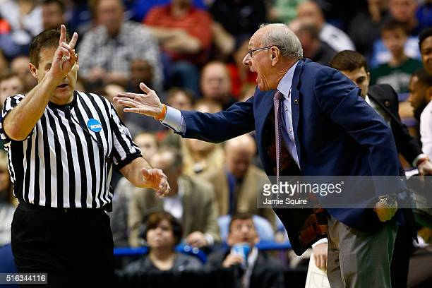 Head coach Jim Boeheim of the Syracuse Orange reacts to a call in the first half against the Dayton Flyers during the first round of the 2016 NCAA...