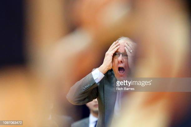Head coach Jim Boeheim of the Syracuse Orange reacts to a call against the Pittsburgh Panthers during the second half at the Carrier Dome on January...