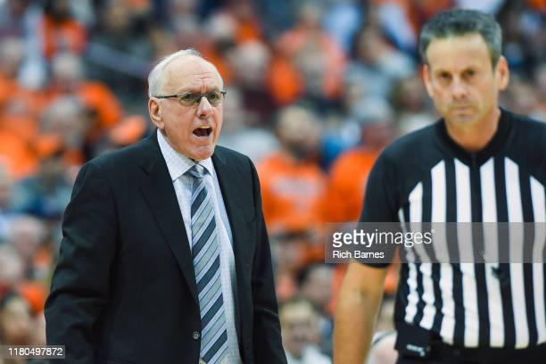 Head coach Jim Boeheim of the Syracuse Orange reacts to a call against the Virginia Cavaliers during the second half at the Carrier Dome on November...