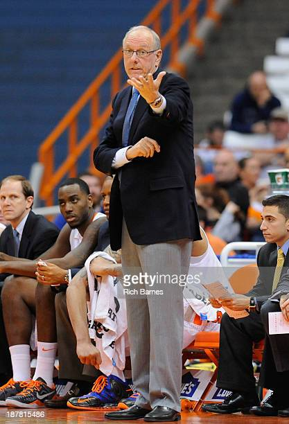 Head coach Jim Boeheim of the Syracuse Orange reacts to a call against the Fordham Rams during the second half at the Carrier Dome on November 12...